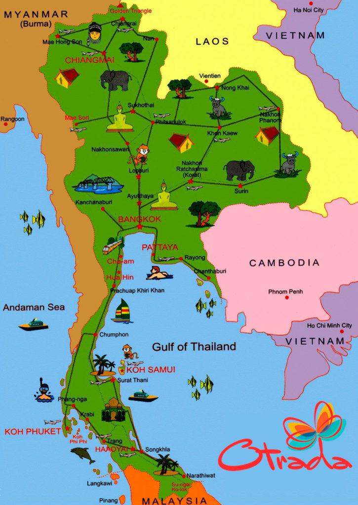 Курорты Таиланда на карте